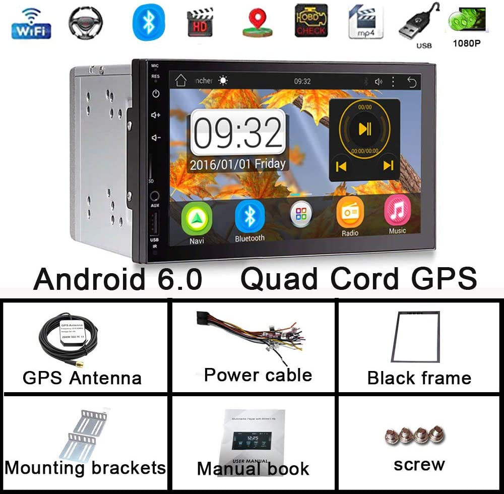 GPFATTRY Android Car Stereo Double Din 2+16G 7 inch GPS Navigation Octa Core Bluetooth WiFi FM//AM SWC Entertainment Car