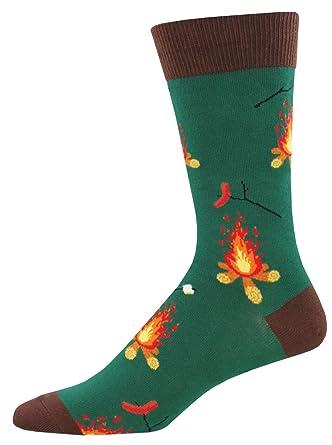 Socksmith Mens Novelty Crew Socks Campfire Forest Green Camping Novelty Footwear