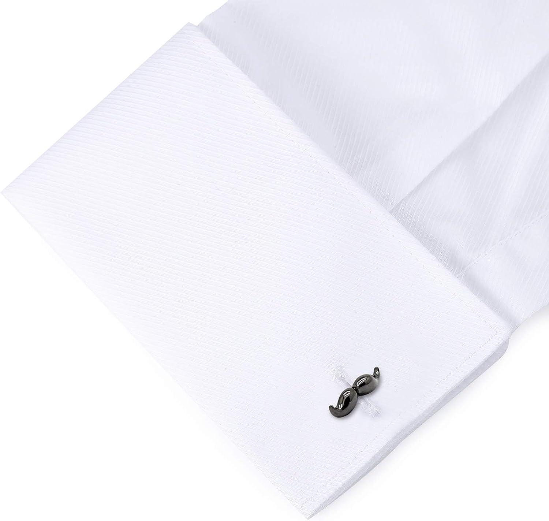 HONEY BEAR Moustache Beard Cufflinks Steel for Mens Shirt Wedding Business Gift