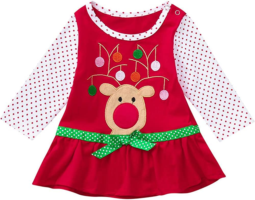 Dream Room Christmas Dresses Toddler Infant Kids Baby Girls Flare Bow Long Sleeve Cartoon Print Dot Dress
