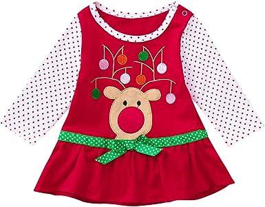 K-youth Vestidos Niña, Vestidos de Navidad Bebe Niña Niños Manga Larga De Volantes Ropa Recién Nacido Niña Tutú Princesa Vestido Ropa Bebe Niña Invierno Christmas: Amazon.es: Ropa y accesorios