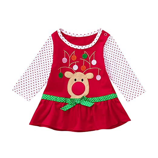 Boomboom Baby Girls Christmas Dress Lovely Baby Girl Flare Bow Long Sleeve Cartoon Printed Dot Dresses