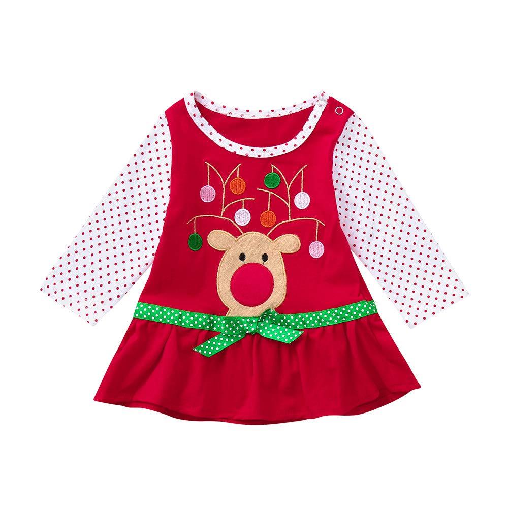 Babykleider, Sannysis Baby Mä dchen Festlich Kleid Kleinkind Weihnachten Langarm Cartoon Print gekrä uselten Polka Dot Kleid Rock Outfits