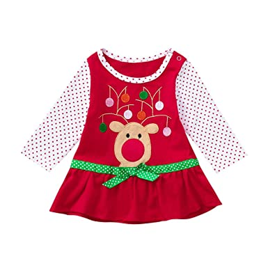 1ecc238455147 Mounter Robe Bébé Noel Infantile Bebe Fille Noël Flare Bow Manches Longues  Bande Dessinee Impression Dot