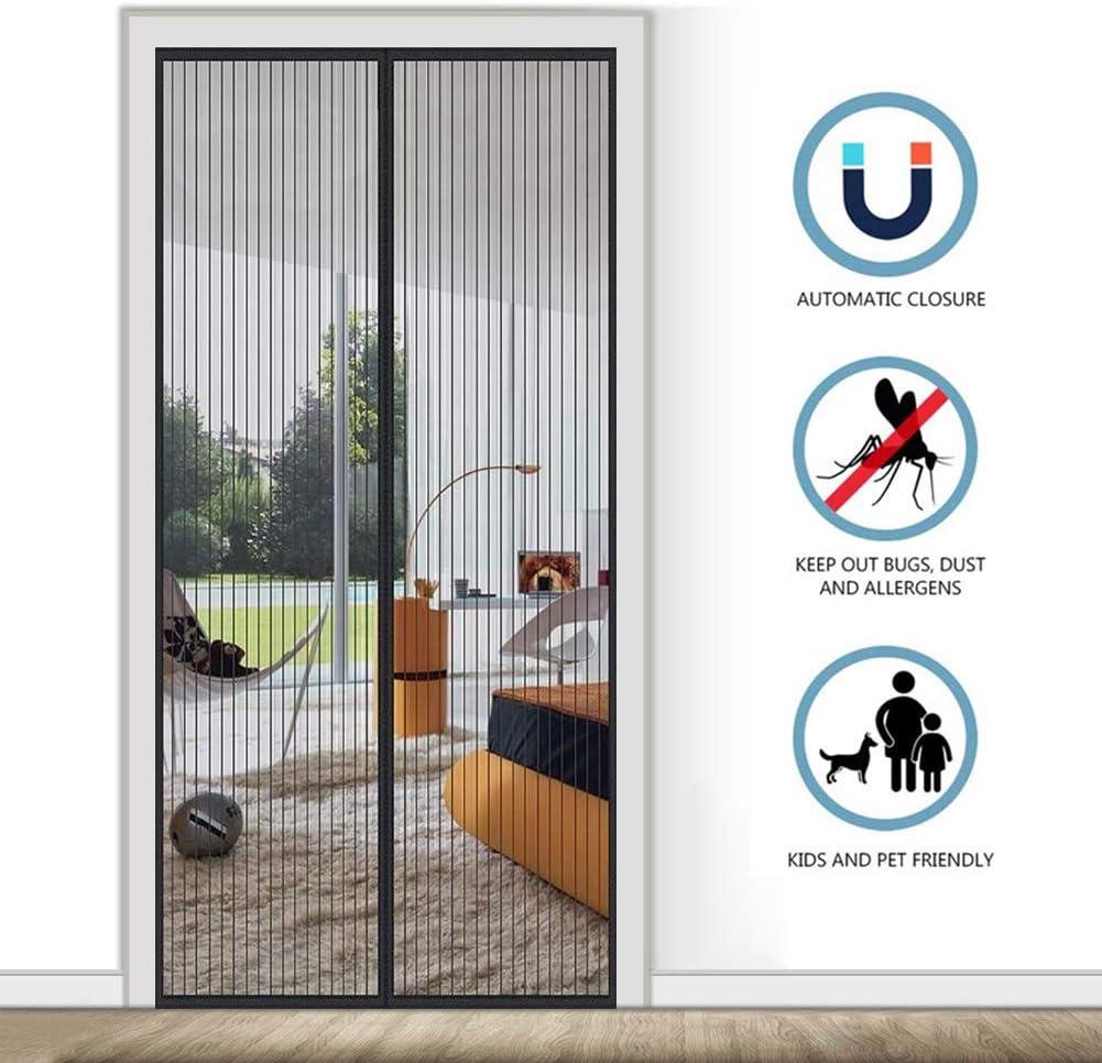 AMCER Cortina mosquitera magnética 125x205cm, Mosquiteras para Puertas Cierre automático Plegable Montaje rápido, para Puertas de Salón, Balcón, Corredor - Negro