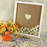 PotteLove Personalized Alternative Wedding Guest Book Frame Rustic Alternate Drop Box Guestbook Custom Wooden Heart Signature Book Wedding 40x50 cm with 150pcs Small Wood Hearts