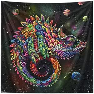 "Third Eye Tapestries ""Rainbow Herbert Chameleon"" Wall Tapestry by Black Ink Art - Wildlife Art Tapestry - Hanging Modern Art Tapestry (40x60)"