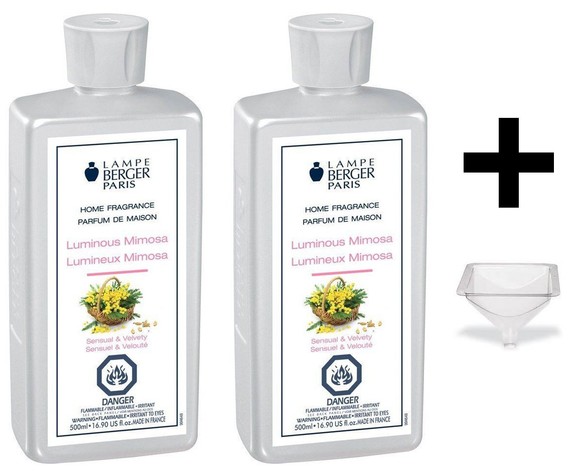Lampe Berger Fragrance - Luminous Mimosa - 500ml/16.9 fl.oz. 2 Pack with FREE Funnel