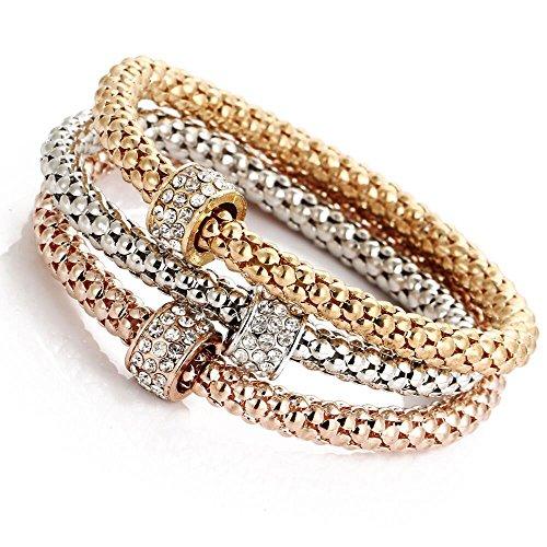 Orcbee  _Charm Women Bracelet Gold Silver Rose Gold Rhinestone Bangle Jewelry Set (C)