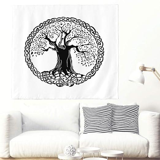Tapiz étnico negro árbol de la vida círculo nudos tatuaje tapiz ...