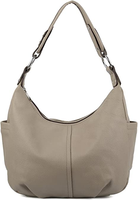 YALUXE Women's Double Zipper Soft Style Cowhide Leather Purse Shoulder Bag Grey