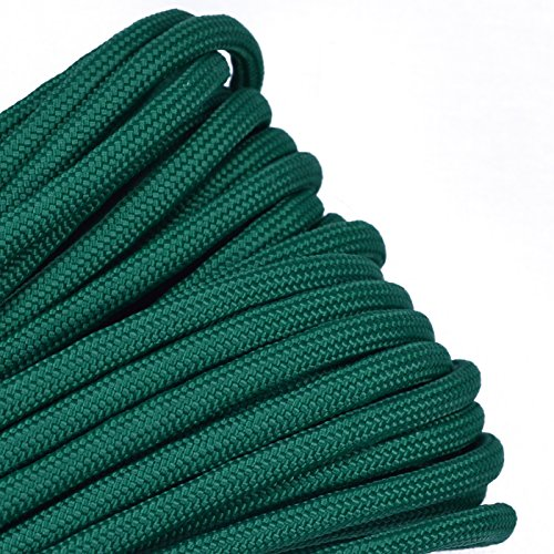 Bored Paracord - 1', 10', 25', 50', 100' Hanks & 250', 1000' Spools of Parachute 550 Cord Type III 7 Strand Paracord Well Over 300 Colors - Kelly Green - 10 Feet