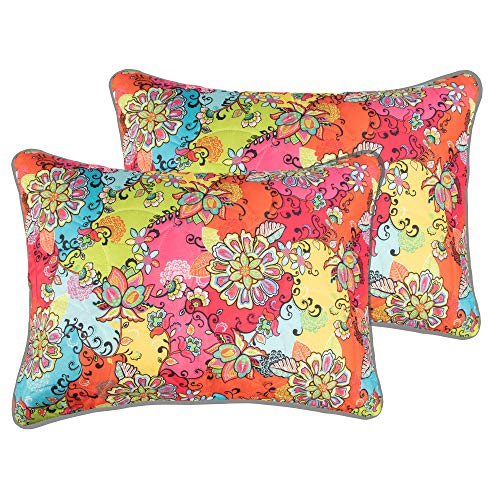 ALCSHOME Standard Quilted Pillowcases, Set of 2, 100% Brushed Microfiber, Super soft and Warm, Standard, Flower