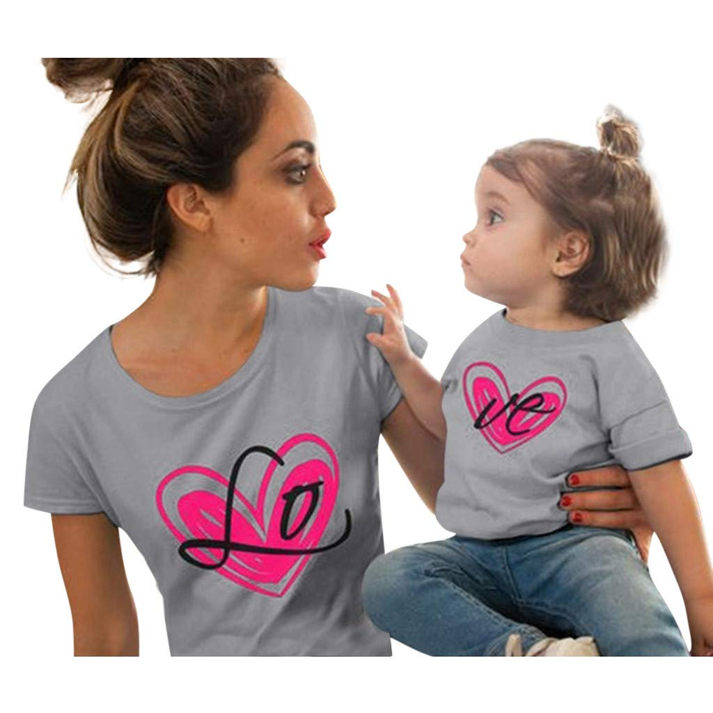 T-Shirts Top Parent Dress Lady Casual Print Short Sleeve T-Shirt Top Mom Style Gray