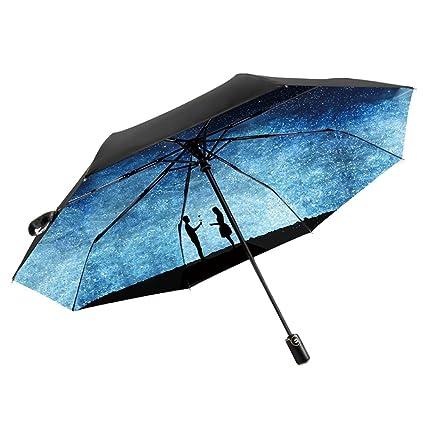HUACANG Sombrilla Plegable Paraguas de protección UV para el Sol protección Solar, Interruptor automático Compacto