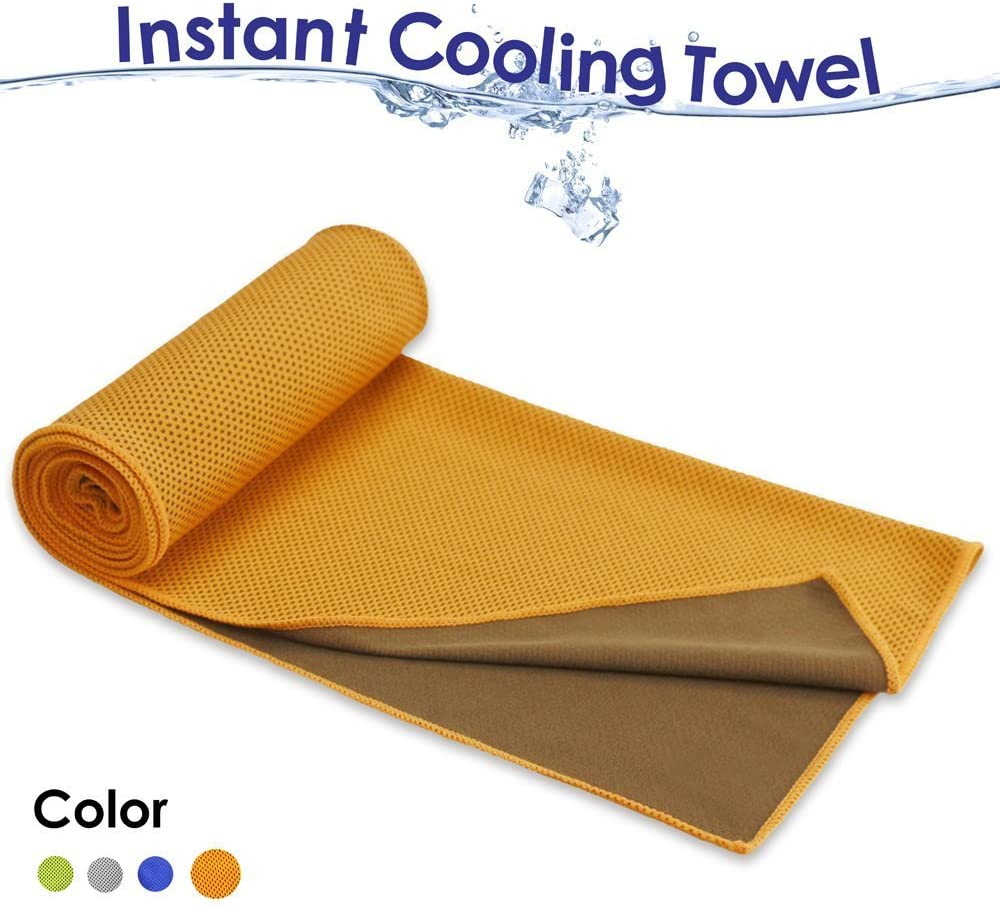 COSROLE Cooling Towel, Ice Sports Towel Cooling Rags for Instant Relief Neck Headband Bandana Scarf for Workout, Gym, Fitness, Golf, Yoga, Camping, Hiking, Bowling, Travel, Outdoor Sports