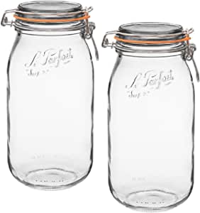 Le Parfait French Super Jar with 85 mm gasket, 2 Liter (Pack of 2)