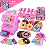 Cashier Toy Cash Register Toy, Foonee Pretend Play Set Educational Cash Register Toy Supermarket Checkout Toy Donut Toys Gift for Toddlers & Pre-Schoolers