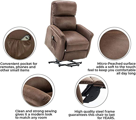 BONZY Power Lift Recliner Chair Soft and Warm Faux Leather Chair Helping Hand for Elder Lift Chair with Remote Control for Gentle Lift Motor, Chocolate