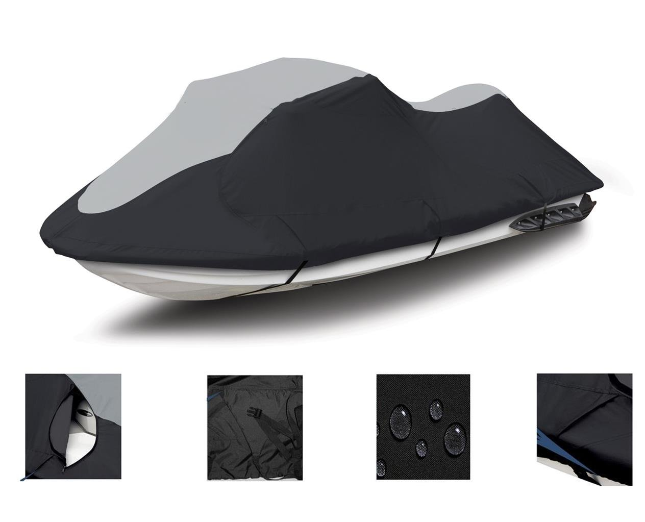 Super Heavy-Duty TOP of The LINE Jetski Cover for Yamaha Wave Venture 700 1995-1998 Jet Ski PWC Trailerable Cover Black/Grey by SBU