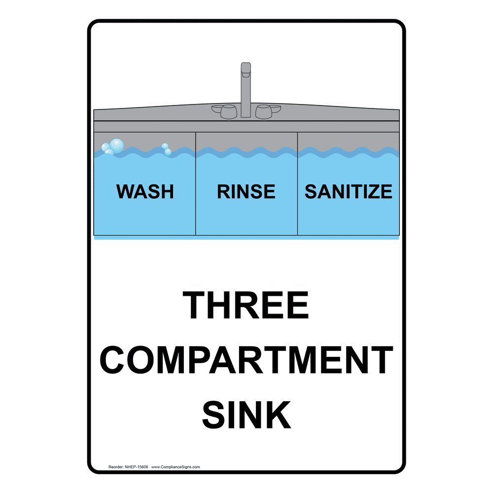 amazoncom vertical vinyl wash rinse sanitize three compartment sink labels 5 x 350 in with english text and symbols white