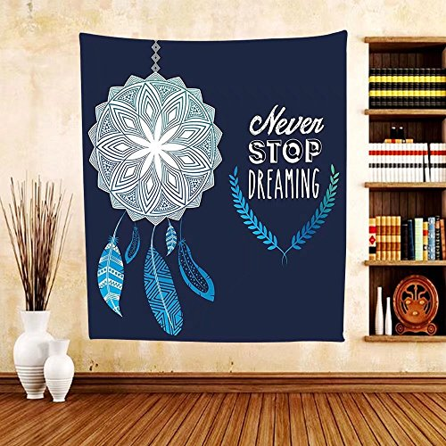 Gzhihine Custom tapestry Quotes Decor Collection Never Stop Dreaming Quote in the Center of Floral Bouquet Romantic Spring Season Print Bedroom Living Room Dorm Tapestry 40 X 60 Pink - Outlet Palm Springs Center