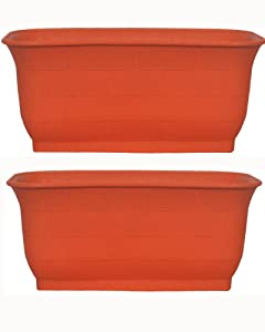 naina Deepak Plastic 20-inch Rectangular Textured Pots (Terracotta) - Pack of 2