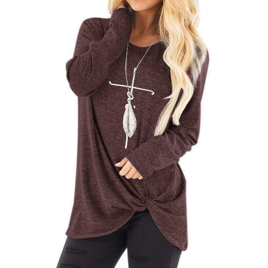 Keliay Bargain Women's Letter Print Pullover Button Long Sleeve Round Neck Loose Tunic Tops