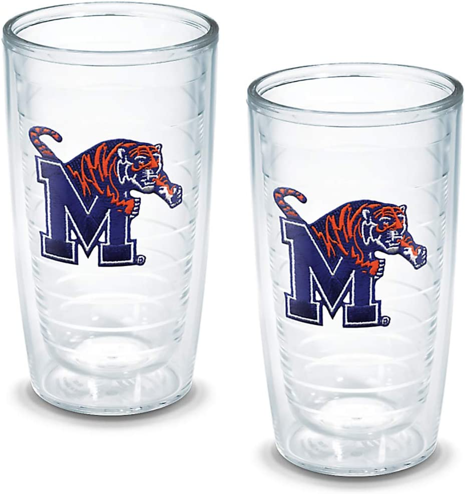 Tervis 1005945 Memphis University Emblem Tumbler, Set of 2, 16 oz, Clear