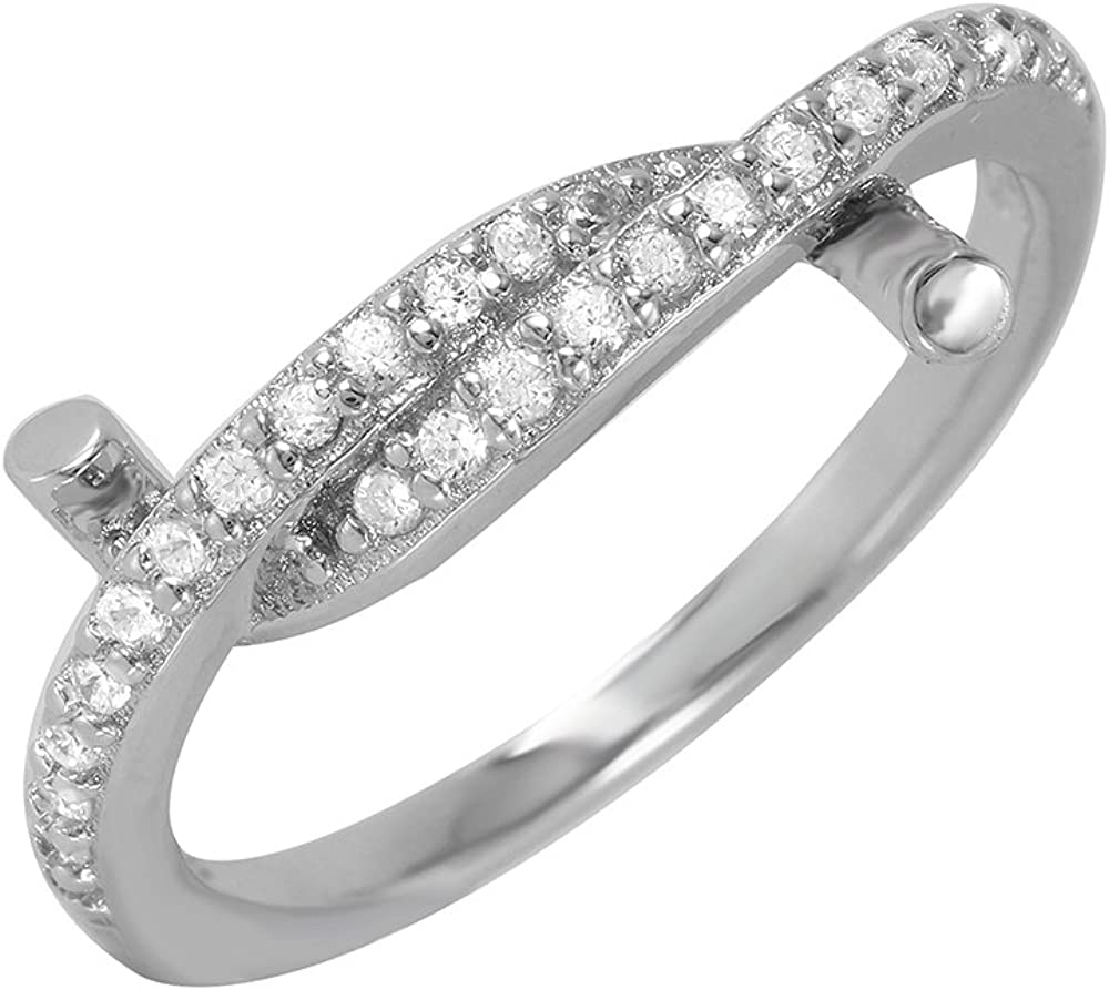 Clear Cubic Zirconia Twirl Ring Rhodium Plated Sterling Silver