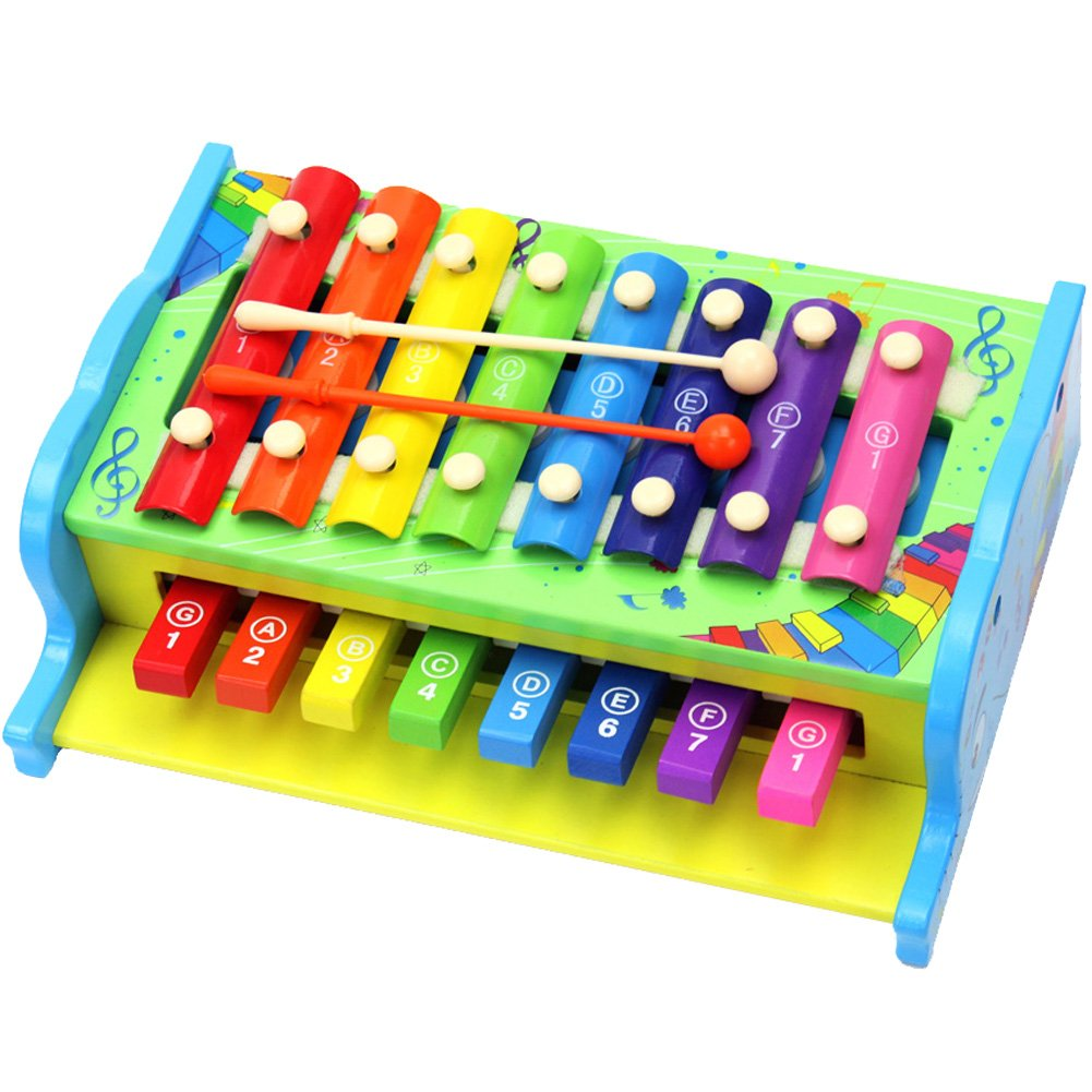 Aideal 2 in 1 Xylophone Toy with Hand Knocking Piano Child-Safe Wooden Musical Toys for Kids Toddler Early Learning Toy Set