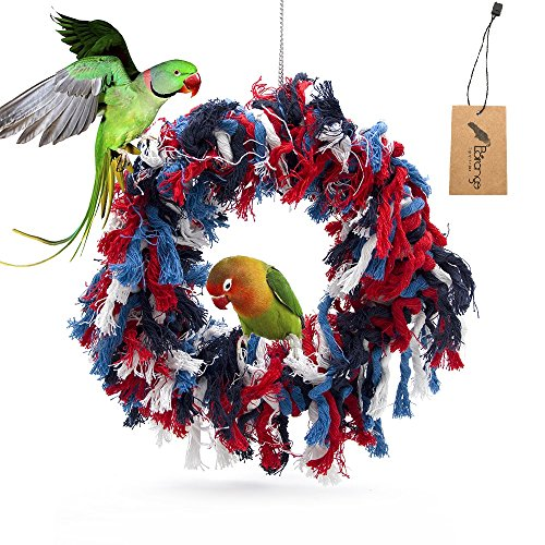 Borange Bird Toys Parrot Shredding Toys Birds Cotton Preening Grooming Ropes Colorful Hanging Swing Snuggle Ring Toy Bird Cage Accessories for African Grey Cockatoos Conure Parakeet Quaker, 12 inch