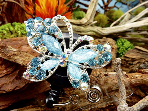 Butterfly Badge Holder Crystal Name Tag Clip Bling RN Retractable ID Reel Nurse Pinning Graduation Ceremony Gift Ideas for Mom Teacher Rhinestone Jewelry Adorable Insect Bug Design Animal Accessory -