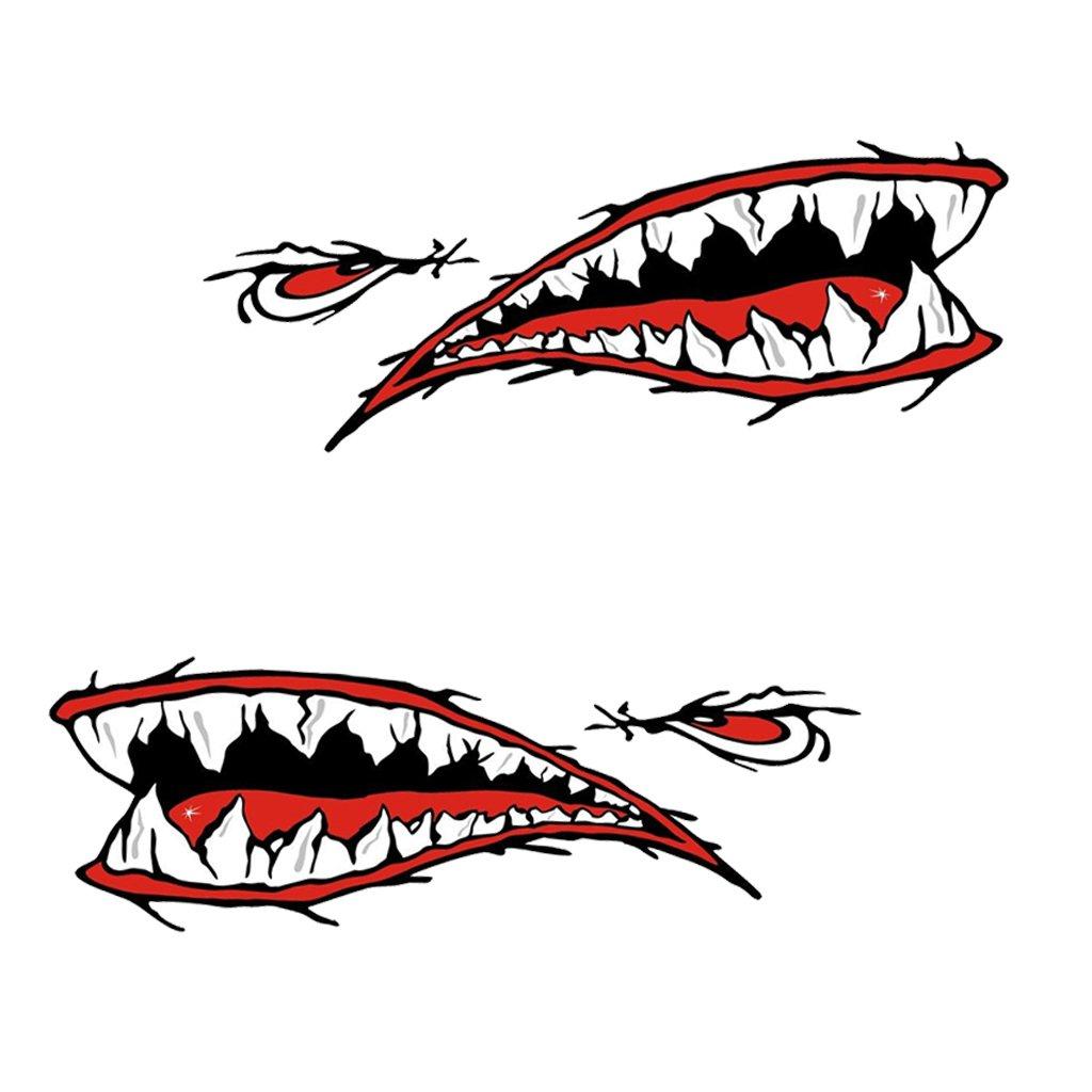 NON gazechimp 2 Piezas de Dientes de Tiburón Boca Calcomanías Pegatinas para Kayak Canoa Bote Barco Auxiliar non-brand