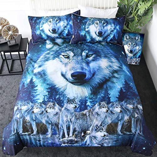 Sleepwish Blue Wolf Bedding Winter Wolves Animal Duvet Cover Nature Wildlife Creature Bed Set 3 Pieces American Wolf Bedspread (Twin) (Twin Bedspread Wolf)