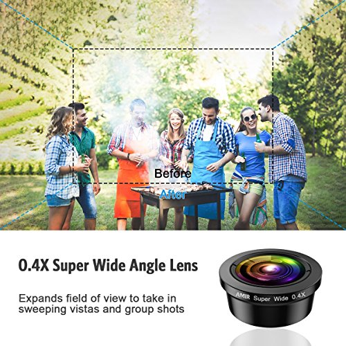 [Upgraded] AMIR For iPhone Camera Lens, 0.4X Super Wide Angle Lens + 195° Fisheye Lens & 15X Macro Lens, 3 IN 1 Cell Phone Camera Lens For iPhone X, iPhone 8/7 Plus, Samsung, Other Smartphones by AMIR (Image #1)