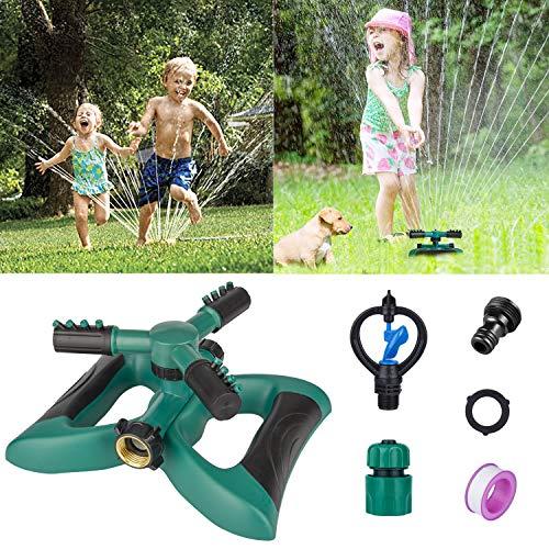 - Morfone Lawn Sprinkler, Garden Sprinkler Automatic 360° Rotating Irrigation System Water Sprinklers for Garden, Yards, Kids, 3600 Square Feet Coverage