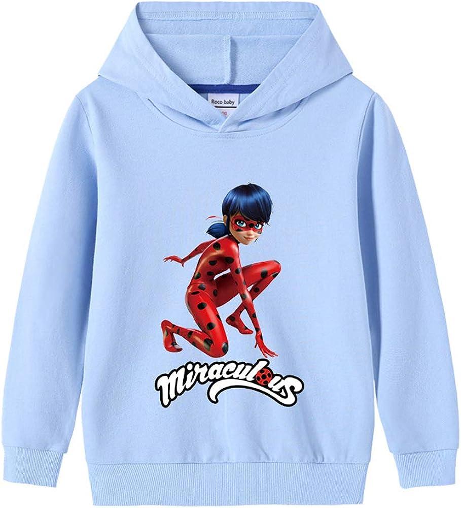 HOOMOLO Miraculous Ladybug Pullover Freizeit Pullover Karikatur-Druck Outwear Sch/öne Langarm Coats Bequeme Pullover Trend Thinner Sweatshirt Unisex Junge und M/ädchen