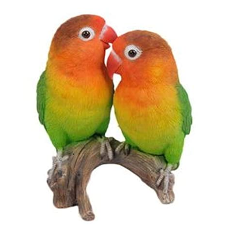 Amazon Com Parrots Love Birds On Branch Statue For Home
