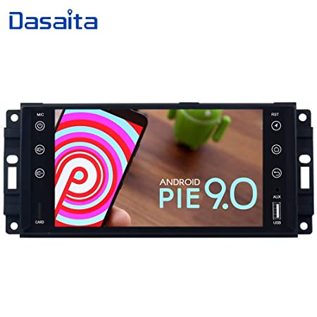 Dasaita 7 Android 9.0 Bluetooth Car Stereo Head Unit with 4G RAM 64G ROM for Jeep Wrangler Commander Compass Grand Cherokee Car Radio Touch Screen GPS Navigation Dash Kit Built in DSP 15Band EQ