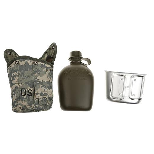 Botella Deportiva De Agua Taza Cantina Militar Al Aire Libre del Ejército Acampar Bolsa