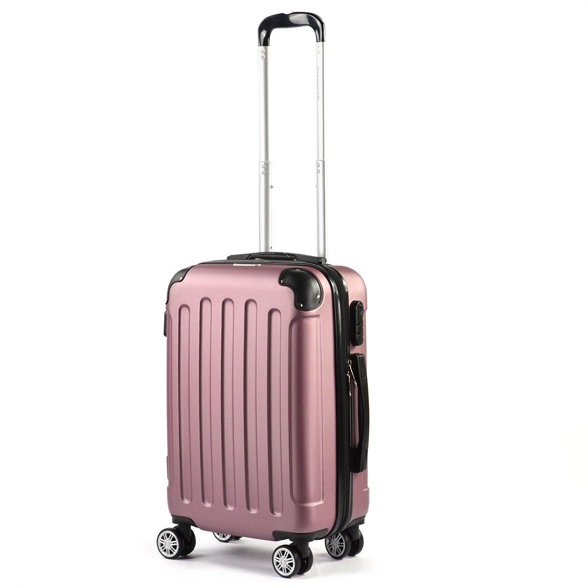 Flexot Handgepäck - Trolley - Bordcase S - Koffer - Reisekoffer - Hartschale - mit Dehnfalte (Erweiterung), Doppelgriff, Zwillingsreifen, Pink - Lila Flexot-S-Pink