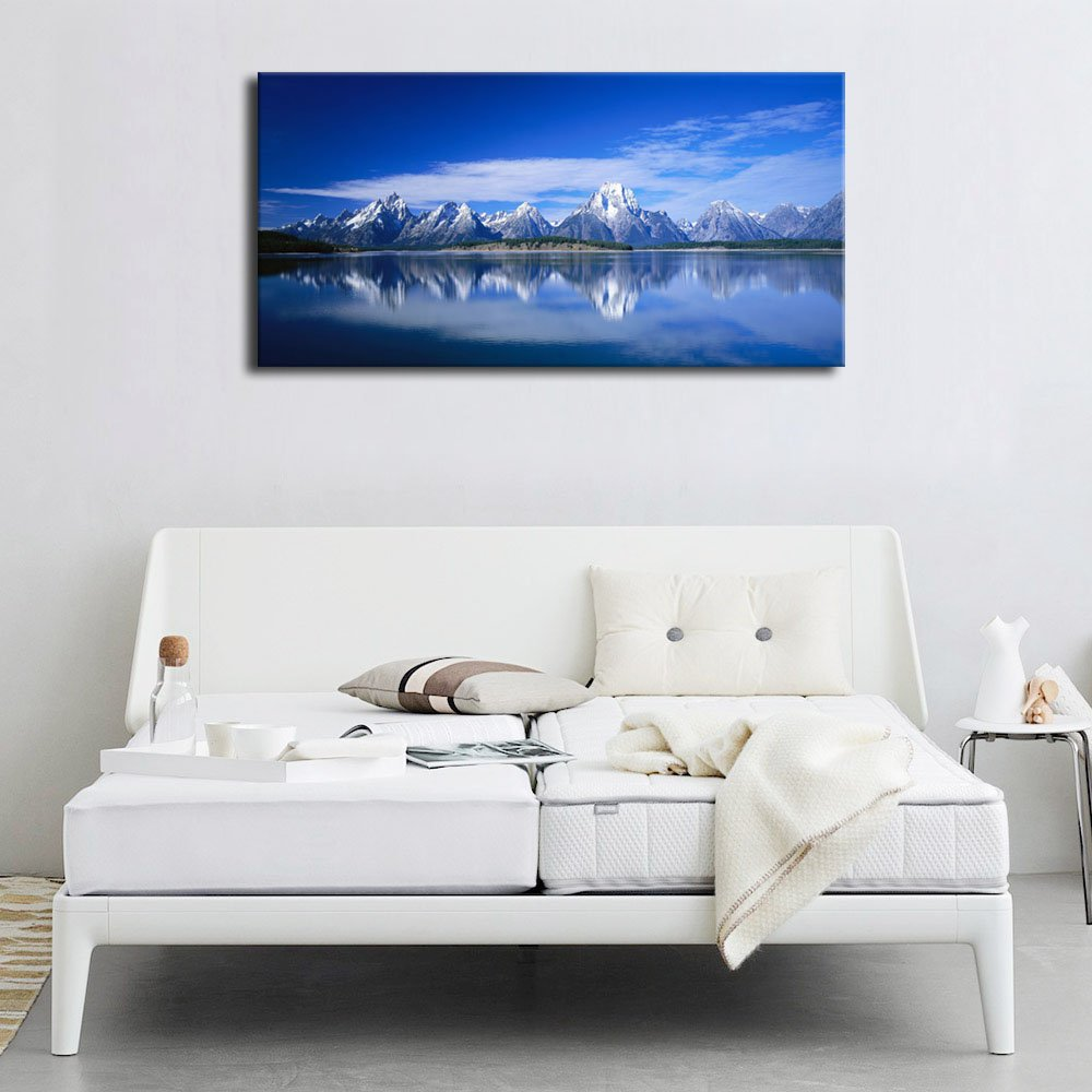 arteWOODS Canvas Wall Art Nature Painting Blue Lake Sky Snow Mountain Large Modern Canvas Artwork Panoramic Contemporary Pictures for Home Office Decoration