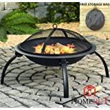 Large Fire Pit Steel Folding Outdoor Garden Patio Heater Grill Camping Bowl BBQ With Poker, Grate, Grill and Free Carry Bag By HOME HUT®