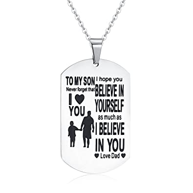 jureeone inspirational gifts jewelry stainless steel pendant necklace letter tag birthday gift from dad for son