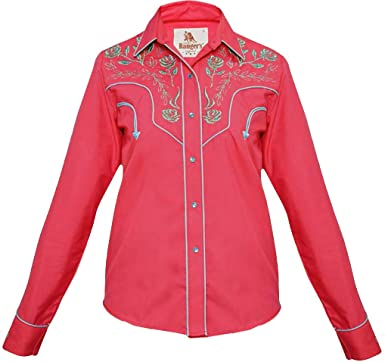 Modestone Womens Embroidered Long Sleeved Fitted Western Camisa Vaquera Floral Fushia XS: Amazon.es: Ropa y accesorios