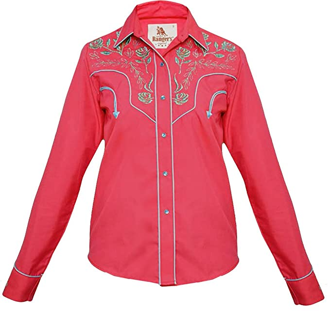 Modestone Western Embroidered Camisa Fitted Long Women's Sleeved OOgqrX