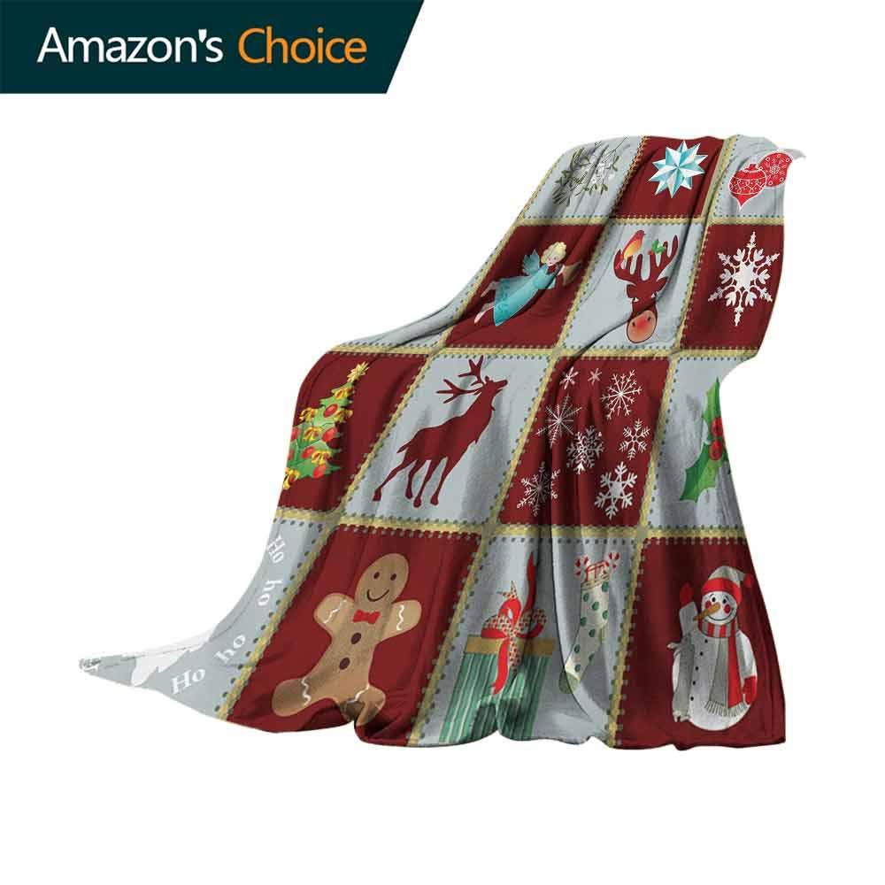 vanfan-home Angel Sand Free Beach Blanket,Christmas Tree Reindeers Noel Santa Presents Snowman Pine Tree Traditional Soft Summer Cooling Lightweight Bed Blanket (70''x60'')-Burgundy Blue Grey
