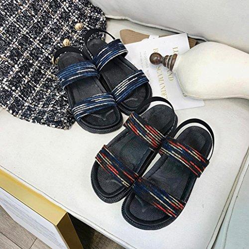 Sandalias Vestir o Casual Pa de Planos Mujer de C 2018 para de Playa Zapatos de Deporte PAOLIAN Sandalias Chic Zapatillas Verano Blanda Suela EcOZWq