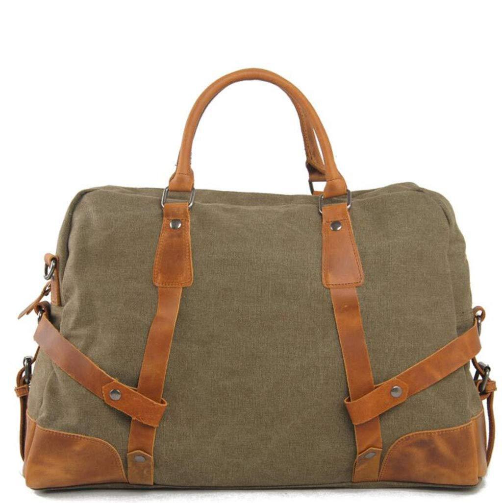 DADDYY Unisex Canvas Travel Bag Casual High-End Shoulder Bag Portable Temperament Bag,ArmyGreen